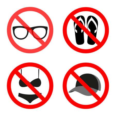 círculo rojo no se puede cruzar gafas, gorra, bikini, zapatos