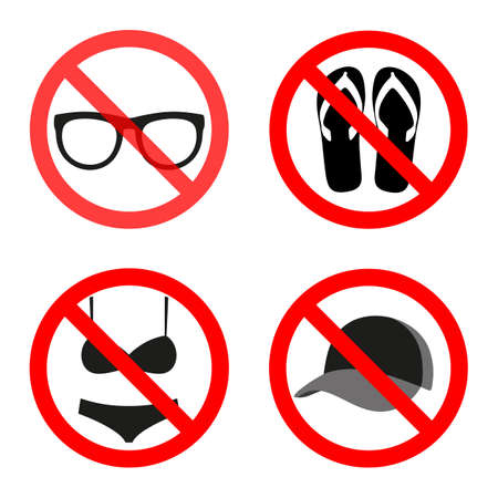 red circle can not be crossed glasses, cap, bikini, shoes