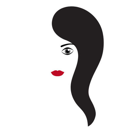 Black hair and red lips Illustration