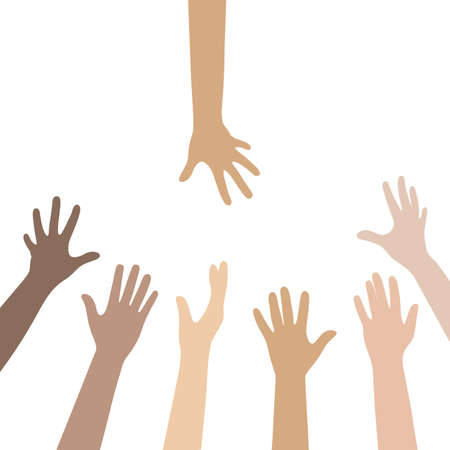 illustration of people stretching their hands on a white background