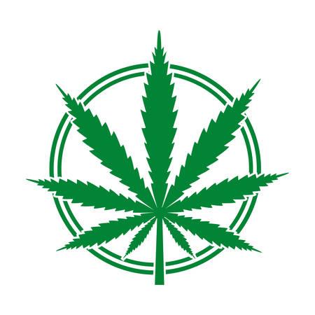 medical cannabis emblem in a green circle Banco de Imagens - 120886289
