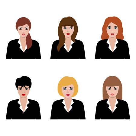 flat icon avatar set, female, girl, business woman