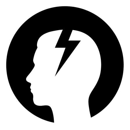 flaches Design Depression Symbol Kopf mit Blitz
