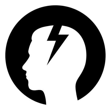 flat design depression icon head with lightning