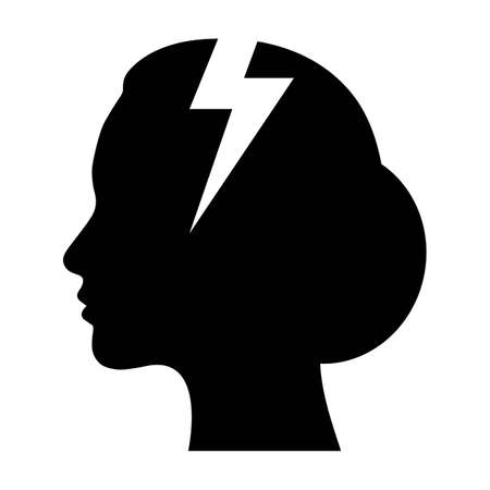 abstract flat design depression icon head of a woman