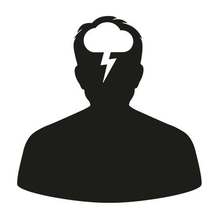 abstract flat design depression icon head with lightning Ilustrace