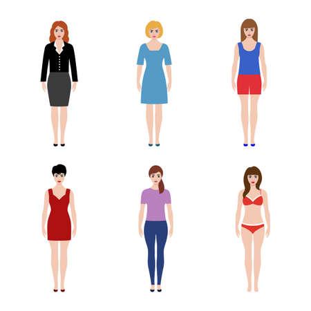 illustration set of women on a white background