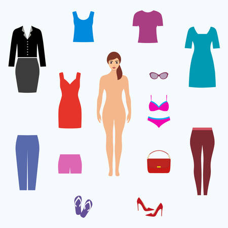 Female fashion set. Womens clothes collection Ilustrace