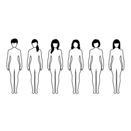 set of female silhouettes on a white background