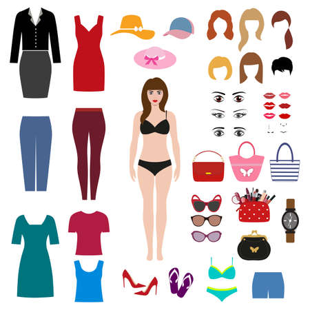 girl in bikini. set of womens clothing and accessories