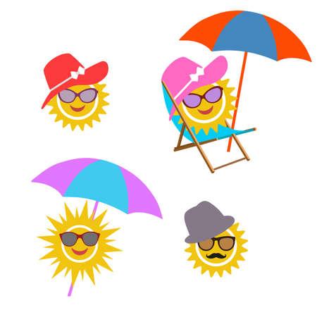 illustration set sun. Graphic elements for children, birthday card, summer elements Ilustrace