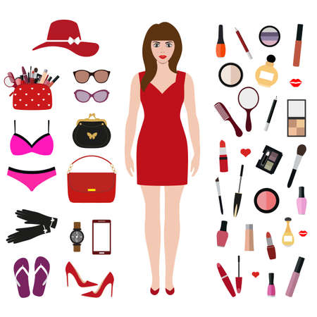 girl in a red dress set of womens clothing Ilustrace