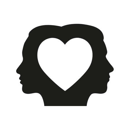 head of a man and a woman with a heart