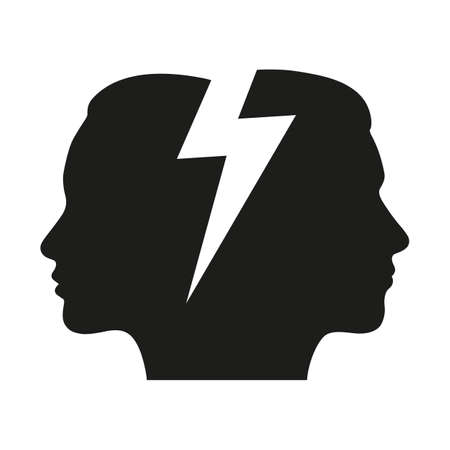 head of a man and a woman with a zipper Ilustrace