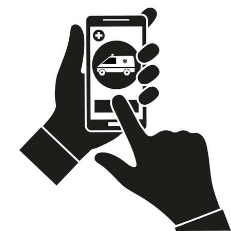 Mobile medicine concept. Ilustrace