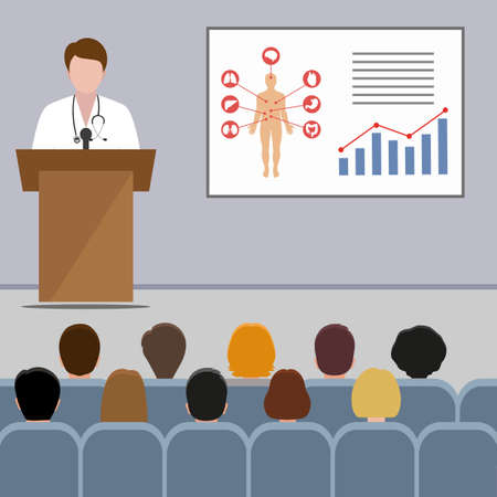 Medical conference. doctor makes a presentation Ilustracja