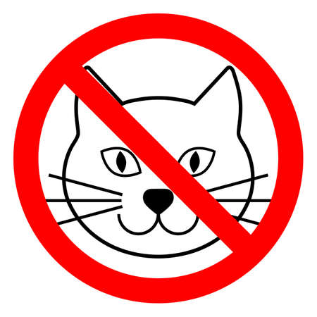 sign banned cat in a red crossed circle Ilustrace