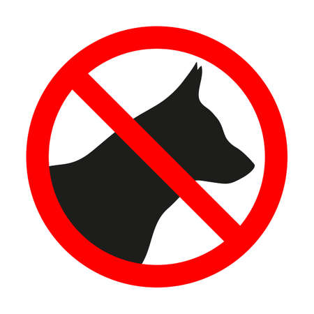 forbidden sign dog in red crossed out circle