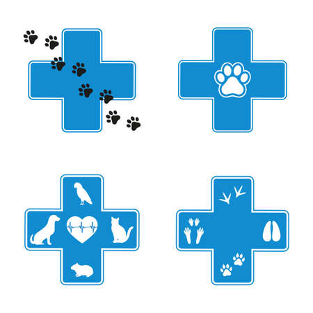 set of blue veterinary emblems in  cross