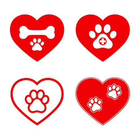 set of veterinary emblems in red heart Ilustrace