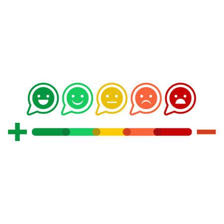 Sonrisas emocionales. Calificación de satisfacción. Ilustración de vector