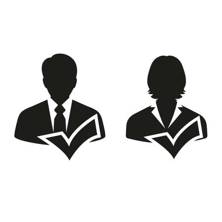 Male and female as businesspeople icon couple