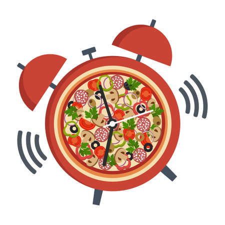 Illustration pizza with clock,