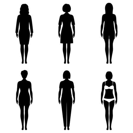 Silhouettes of young girls with different outfits Ilustrace