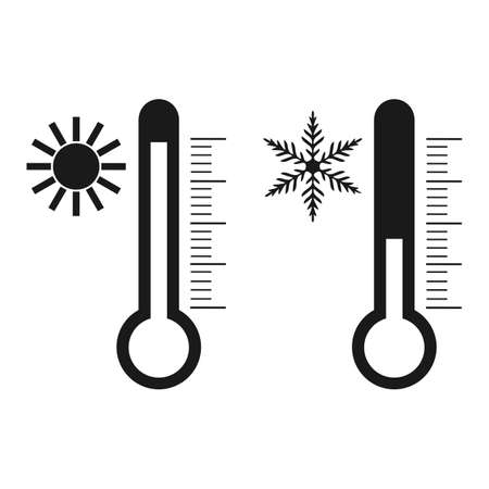 thermometer with sun and snowflake Ilustrace