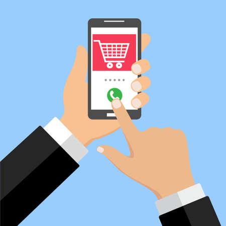 Mobile phone shopping cart, red speechillustration
