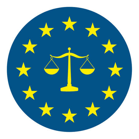 european flag with scales of justice