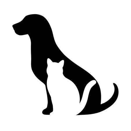 dog with a cat on a white background Standard-Bild - 124357300