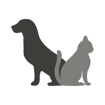 dog and cat silhouettes on white background