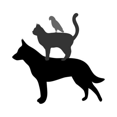 silhouettes of dogs, cats and birds