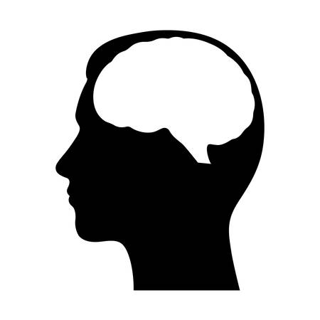 silhouette of a human head with a brain Standard-Bild - 124357305