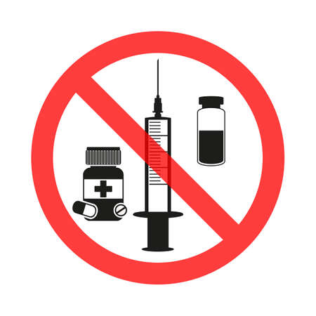 Drugs and pills prohibition sign icon.