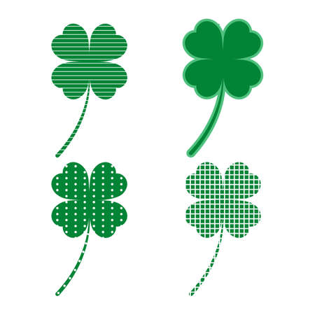 Illustration of Set of green clover leaves isolated on white background
