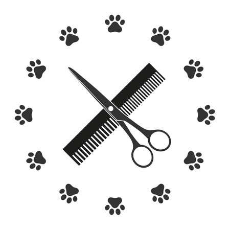 Friseur für Hunde- und Katzensymbol.