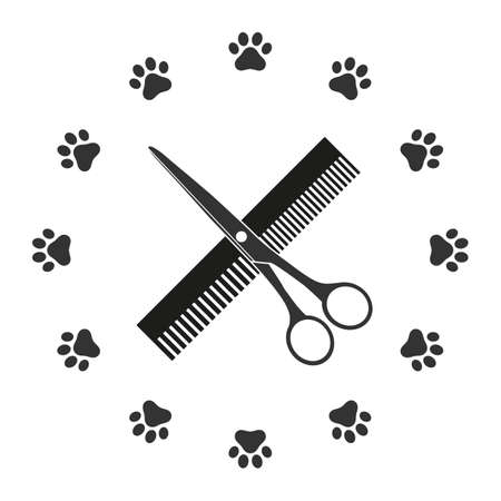 Hairdresser for dogs and cats symbol. Vectores
