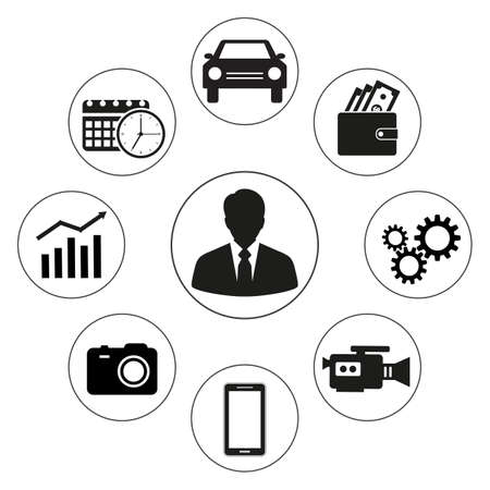 set of business icons on white background Standard-Bild - 125639792
