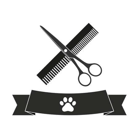 Symbol of hairdresser for animals Standard-Bild - 125639794