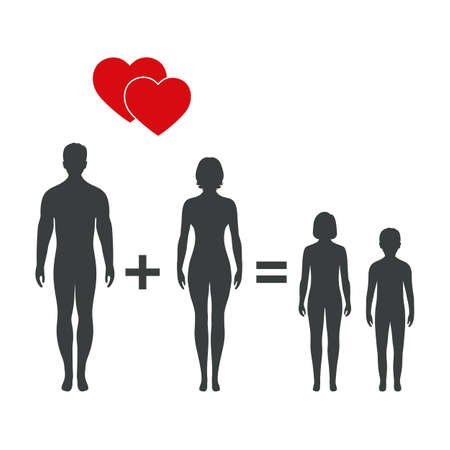 illustration of happy family. Standard-Bild - 126547413