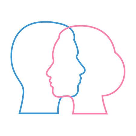 head silhouette man and woman Standard-Bild - 126547435