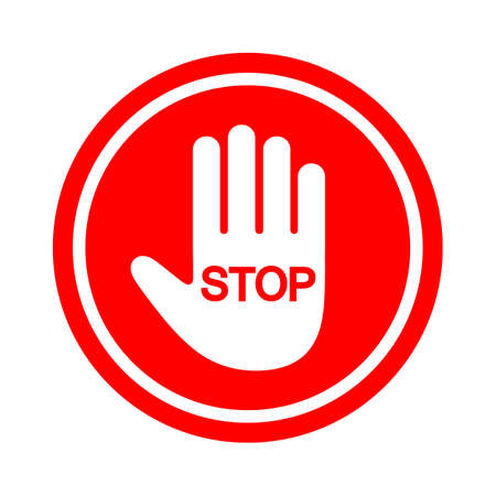 Hand blocking Stop Sign Red