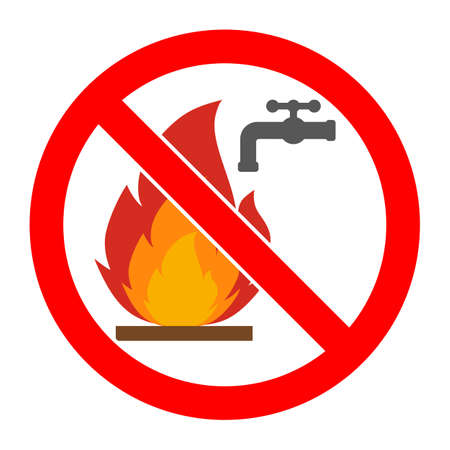 sign is forbidden to extinguish the fire Standard-Bild - 126547454
