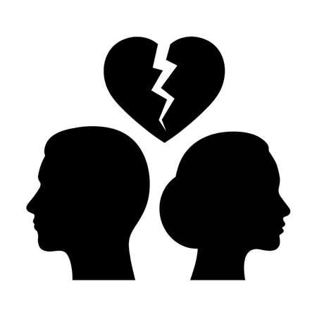 Femme et homme sur fond de cœur brisé.