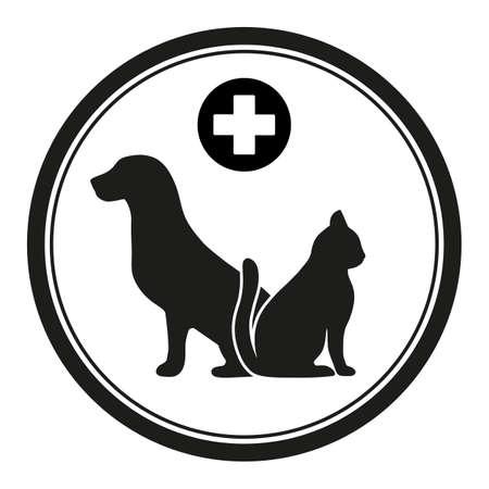 veterinary emblem dog and cat Standard-Bild - 127785170