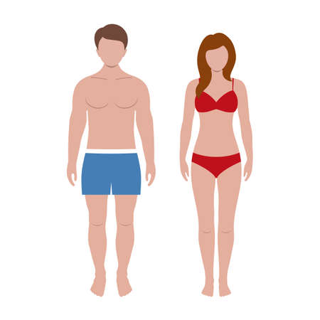 man and woman in beach suit Иллюстрация