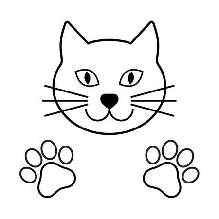cat head icon with paws Иллюстрация