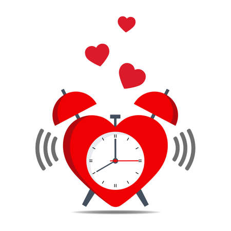 red heart-shaped alarm clock on a white background Иллюстрация